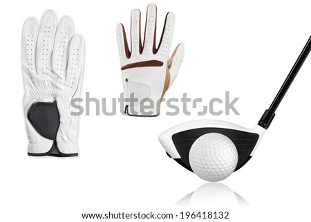 callection golf ball with golf driver,golf gloves isolate on white - stock photo