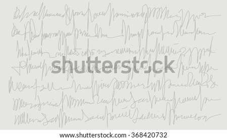 Calligraphic background grey on grey light. Dates written text. Graphic freehand drawing. - stock photo