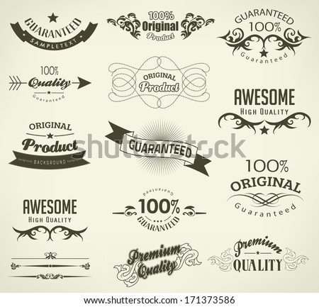 calligraphic design elements and page decoration - lots of useful elements to embellish your layout - stock photo