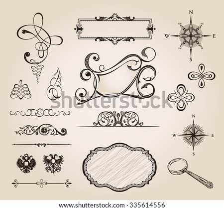 calligraphic elements vintage ornament set. Vector frame decor - stock photo