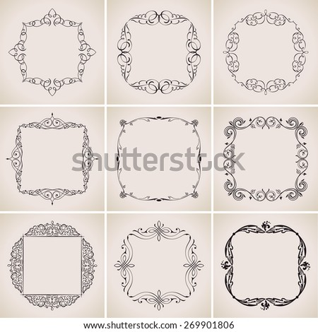 Calligraphic frames set and page decoration ornament. vintage illustration elegant - stock photo