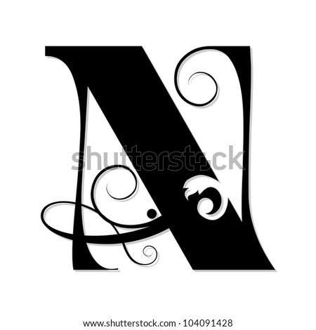 Calligraphic Letter N Isolated On White Background