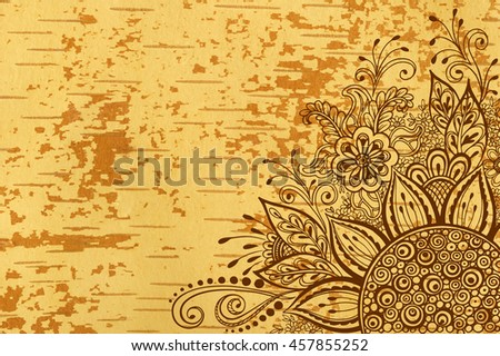 Calligraphic Vintage Pattern, Symbolic Flowers and Leafs, Abstract Floral Outline Ornament, Brown Contours on Wood Texture, Underside Fallow Birch Bark - stock photo