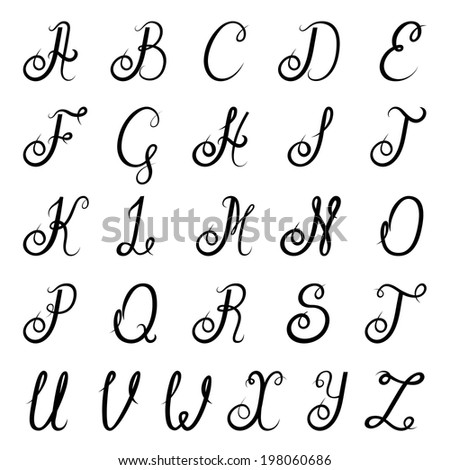 Calligraphic vintage script font alphabet with isolated letters  illustration - stock photo