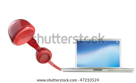 Calling by telephone over the internet using a computer - stock photo