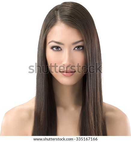 Calm Asian young woman with long medium brown hair - Isolated