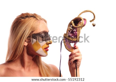calm blonde woman with fashion makeup hold violet half mask, isolated on white - stock photo