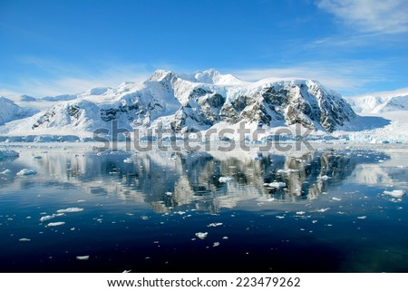 Calm blue antarctic ocean
