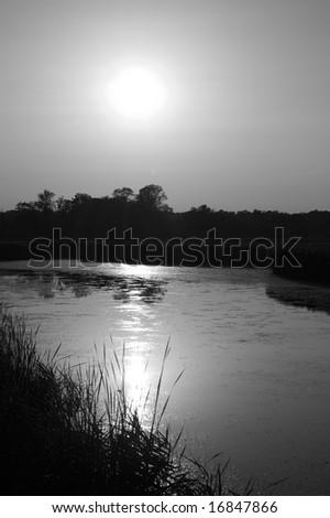 Calm lake at sunset. Igneada Kirklareli Turkey - stock photo
