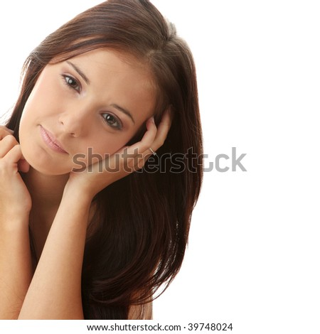 Calm portrait of young beautiful woman on white background