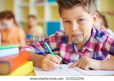 Calm schoolboy looking at camera while drawing at lesson - stock photo
