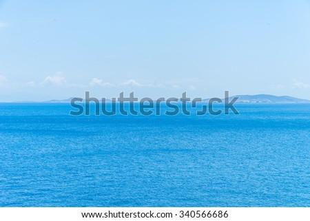 Calm sea during summer in Greece. - stock photo
