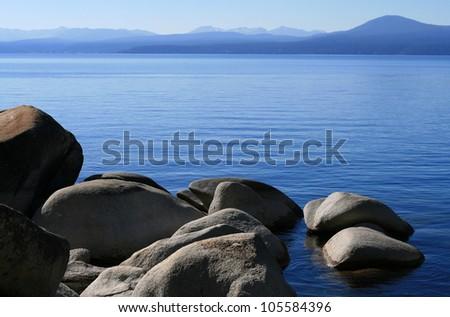 Calm waters of Lake Tahoe in California - stock photo