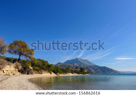 Calm waters of the Corinthian Gulf. View from the coast of Skaloma at the Geraneia Mountains. - stock photo