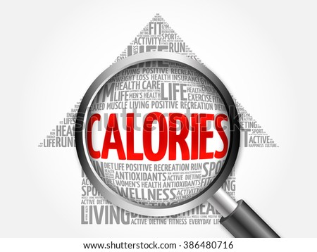 CALORIES arrow word cloud with magnifying glass, health concept - stock photo