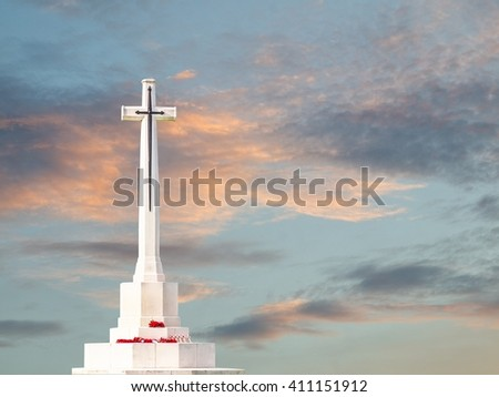 Calvary under the dramatic storm clouds. - stock photo