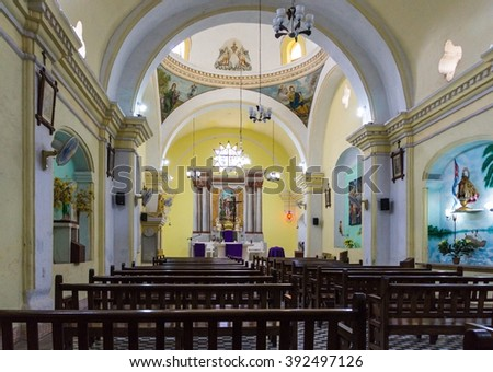 CAMAGUEY,CUBA-FEBRUARY 9,2015: Saint Lazarus or San Lazaro church.   The church is located inside the former Valencia Father Nursing Home. Camaguey is a Unesco World Heritage Site