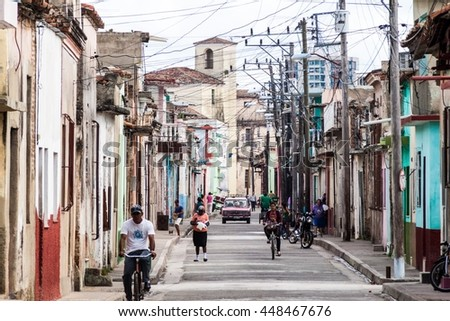 CAMAGUEY, CUBA - JAN 26, 2016: People in the streets of Camaguey
