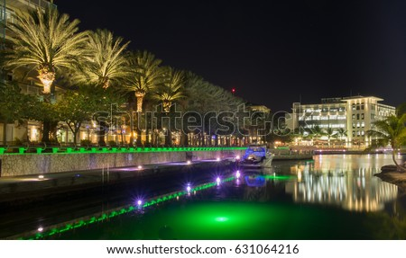 Camana Bay at Nighttime, a waterfront town by the Caribbean sea, Grand Cayman Cayman Islands