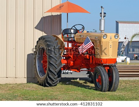 CAMARILLO/CALIFORNIA - AUGUST 23, 2015: Case 800 diesel powered tractor on display at the Wings Over Camarillo Airshow in Camarillo, California USA