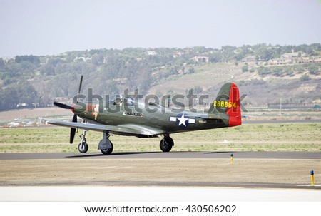 CAMARILLO/CALIFORNIA - AUGUST 22, 2015: Vintage military aircraft taxiing on runway  at the Wings Over Camarillo Airshow in Camarillo, California USA