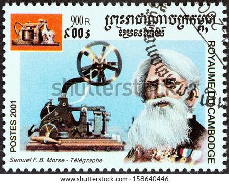 "CAMBODIA - CIRCA 2001: A stamp printed in Cambodia from the ""Millennium "" issue shows Samuel Morse, telegraph, circa 2001. - stock photo"