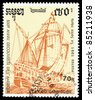 CAMBODIA - CIRCA 1991: A stamp printed in Cambodia shows image of a ship, 500th anniversary of the discovery America, circa 1991 - stock photo
