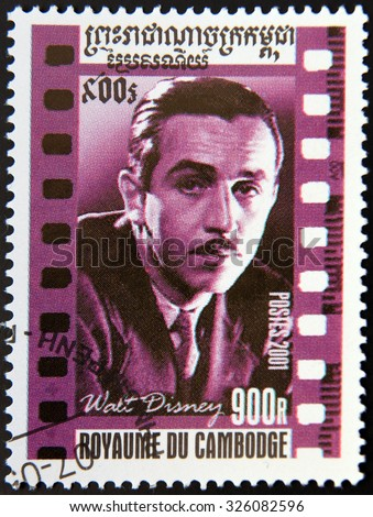 CAMBODIA - CIRCA 2001: A stamp printed in Cambodia shows Walt Disney portrait, circa 2001 - stock photo