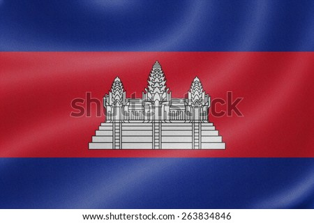 Cambodia flag on the fabric texture background - stock photo