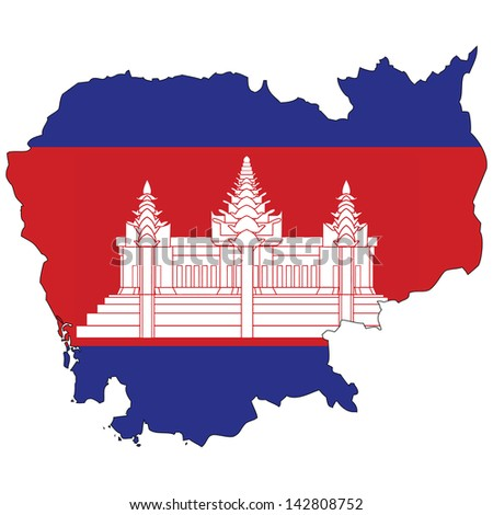 Cambodia map with the flag inside.  - stock photo