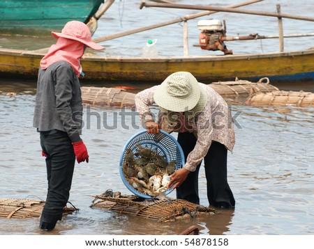 Cambodian crab fishing in Kep, Cambodia - stock photo