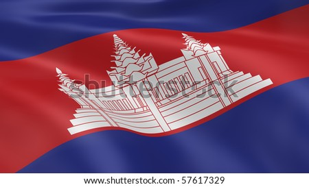 Cambodian flag in the wind. Part of a series. - stock photo