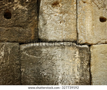 Cambodian temple ancient brick background and texture. - stock photo