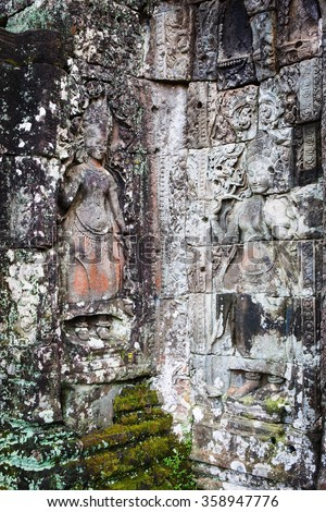 Cambodian temple ruins - stock photo