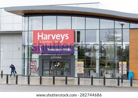 CAMBRIDGE, ENGLAND - 7 May 2015: 'Harveys' furniture store on Newmarket road, part of Bensons for Beds, Cambridge, England
