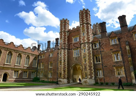 CAMBRIDGE, ENGLAND - MAY 13: Low Angle View of Gateway from Inside Third Court on Grounds of St Johns College on Sunny Day, University of Cambridge, England on May 13, 2015