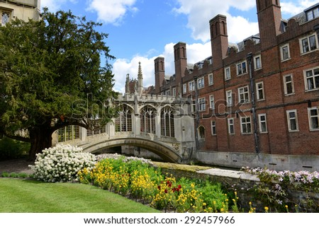 CAMBRIDGE, ENGLAND - MAY 13: Springtime view of the Bridge Of Sighs Cambridge, UK in St Johns college built in the nineteenth century to span the River Cam between the campus buildings on May 13, 2015 - stock photo