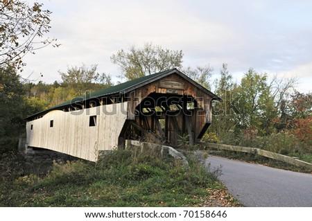 Cambridge Junction Covered Bridge, Cambridge, VT Horizontal With Copy Space - stock photo