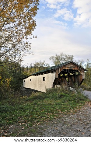 Cambridge Junction Covered Bridge, Cambridge, VT Vertical With Copy Space - stock photo