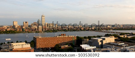Cambridge, MA, and Boston, MA, facing one another across the river Charles near MIT/Kendall. - stock photo