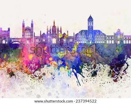 Cambridge skyline in watercolor background - stock photo