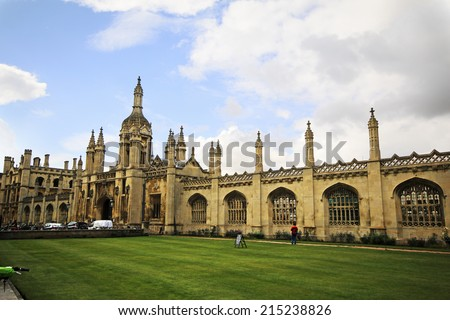 CAMBRIDGE, UK - AUGUST  15, 2014: King's College. Cambridge is the home of the University of Cambridge, founded in 1209 and ranked one of the world's top five universities  - stock photo