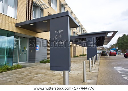 CAMBRIDGE, UK - FEBRUARY 18, 2014:  Main public entrance to the Rosie Birth Centre at the Cambridge University Hospital NHS TRust in Cambridge.