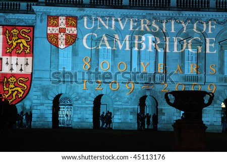 CAMBRIDGE, UK - JAN 17: Evening light show at King's College, Cambridge, marking the final celebrations of the 800th anniversary of the University of Cambridge, Jan 17, 2010, Cambridge, UK