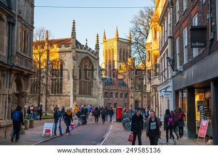 CAMBRIDGE, UK - JANUARY 18, 2015: Trinity street with college view - stock photo
