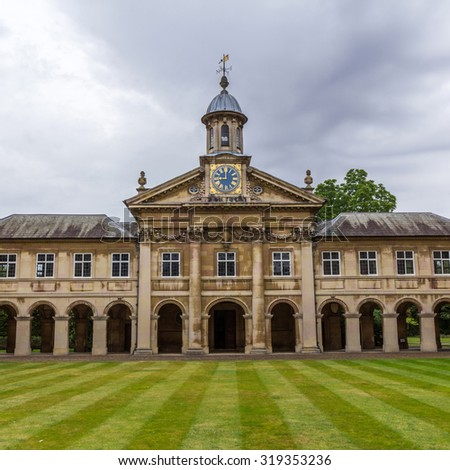 CAMBRIDGE, UK - JULY 24, 2015: Emmanuel College in the University of Cambridge, England. It was founded in 1584 by Sir Walter Mildmay, Chancellor of the Exchequer to Elizabeth I.