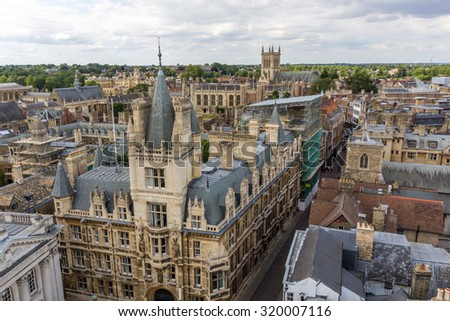 CAMBRIDGE, UK - JULY 23, 2015: Gonville and Caius College in the University of Cambridge in Cambridge, England. It's the fourth-oldest college at the University of Cambridge and one of the wealthiest. - stock photo
