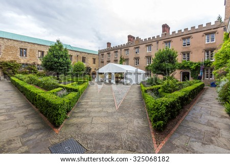 CAMBRIDGE, UK - JULY 22, 2015: New court of Emmanuel College in the University of Cambridge, England. It was founded in 1584 by Sir Walter Mildmay, Chancellor of the Exchequer to Elizabeth I.