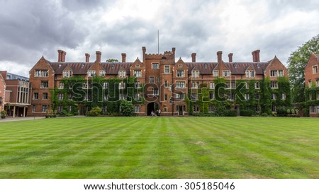 CAMBRIDGE, UK - JULY 23, 2015: Selwyn College in the University of Cambridge in England. The college was founded by the Selwyn Memorial Committee in memory of the Rt Reverend George Selwyn. - stock photo