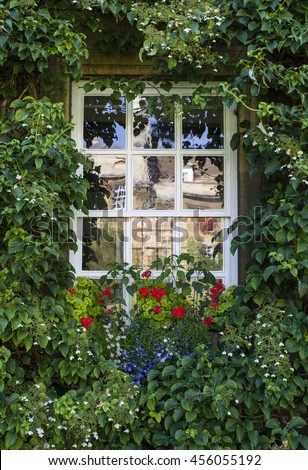 CAMBRIDGE, UK - JULY 18TH 2016: Beautiful flowers and plants around one of the windows at Christs College in Cambridge, on 18th July 2016.